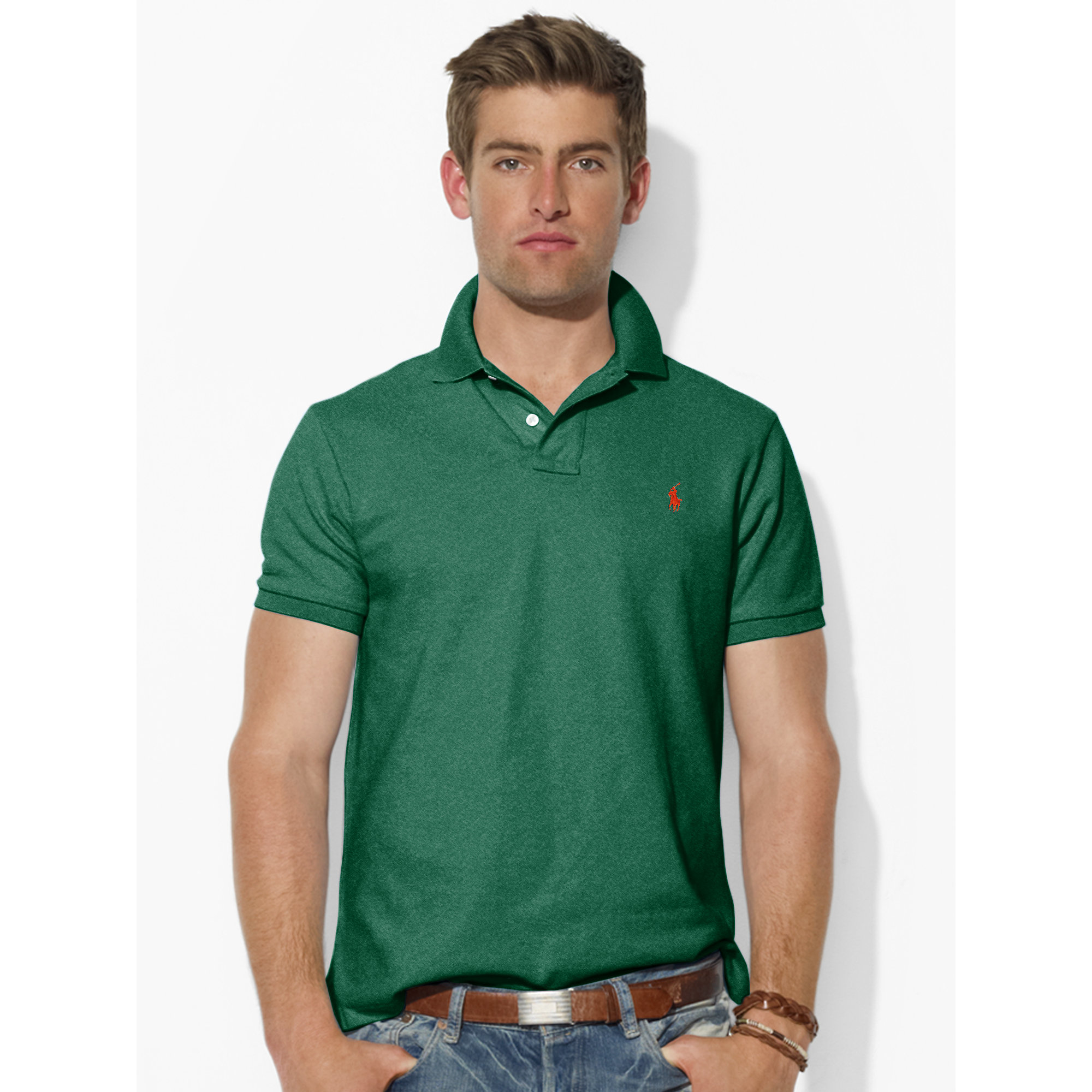 Lyst polo ralph lauren custom fit mesh polo shirt in for Custom tailored polo shirts