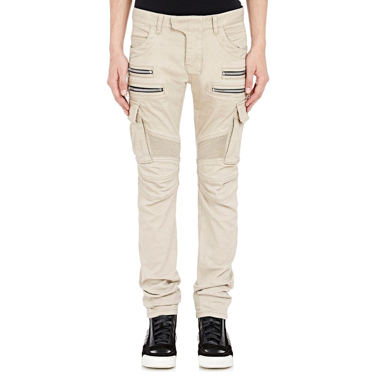 f3babfc0 Balmain Men's Moto Cargo Jeans in Natural for Men - Lyst