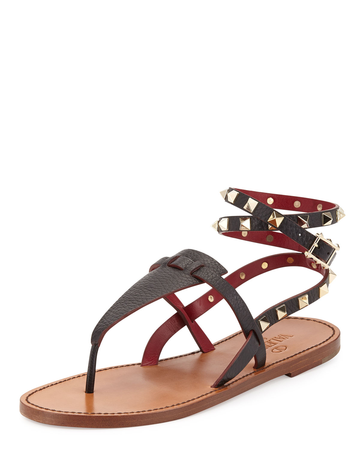 1773614d6 Lyst - Valentino Rockstud Ankle-Wrap Thong Sandal in Black