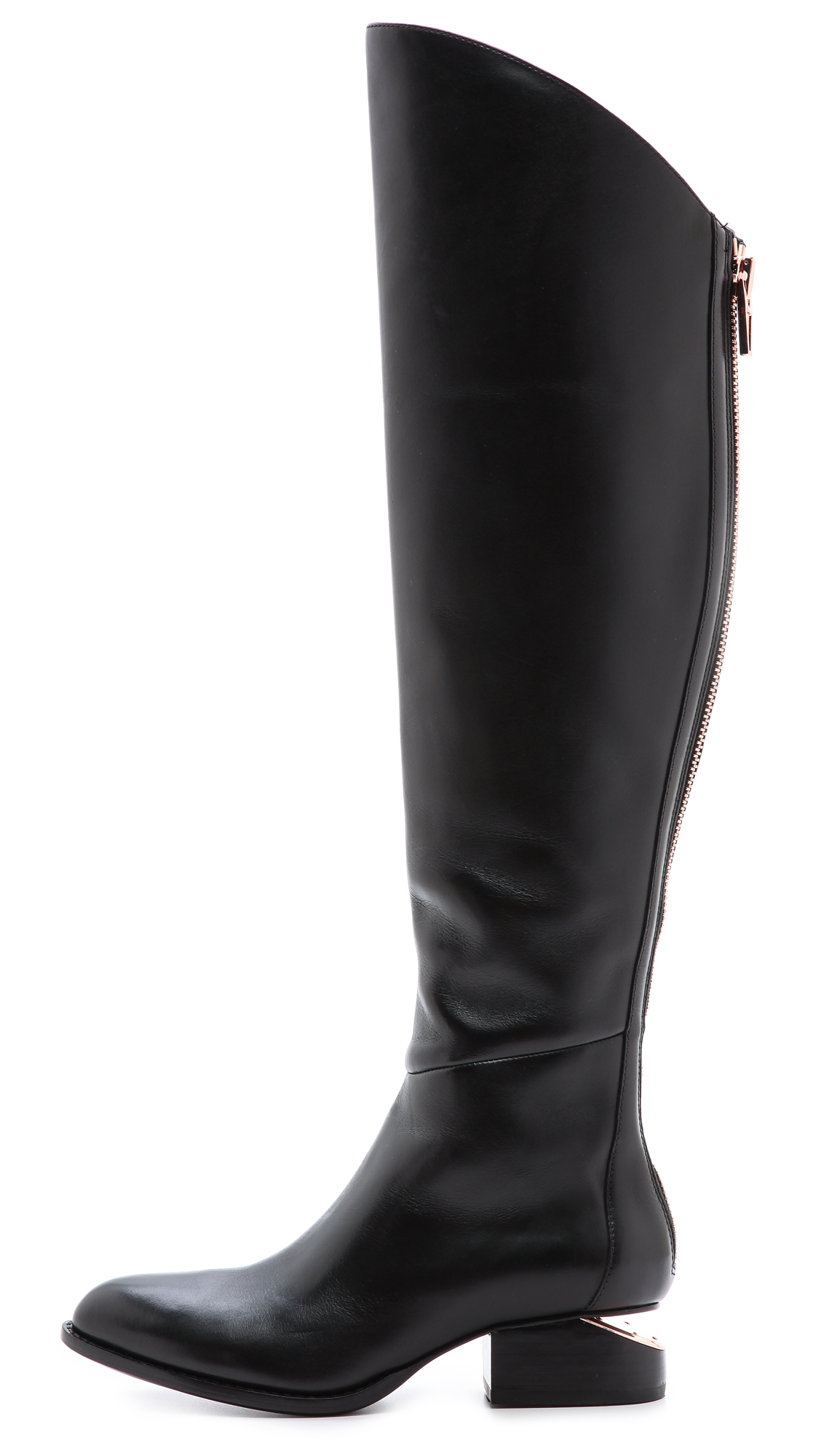 Alexander wang Sigrid Tall Boots with Rose Gold Hardware Black in ...