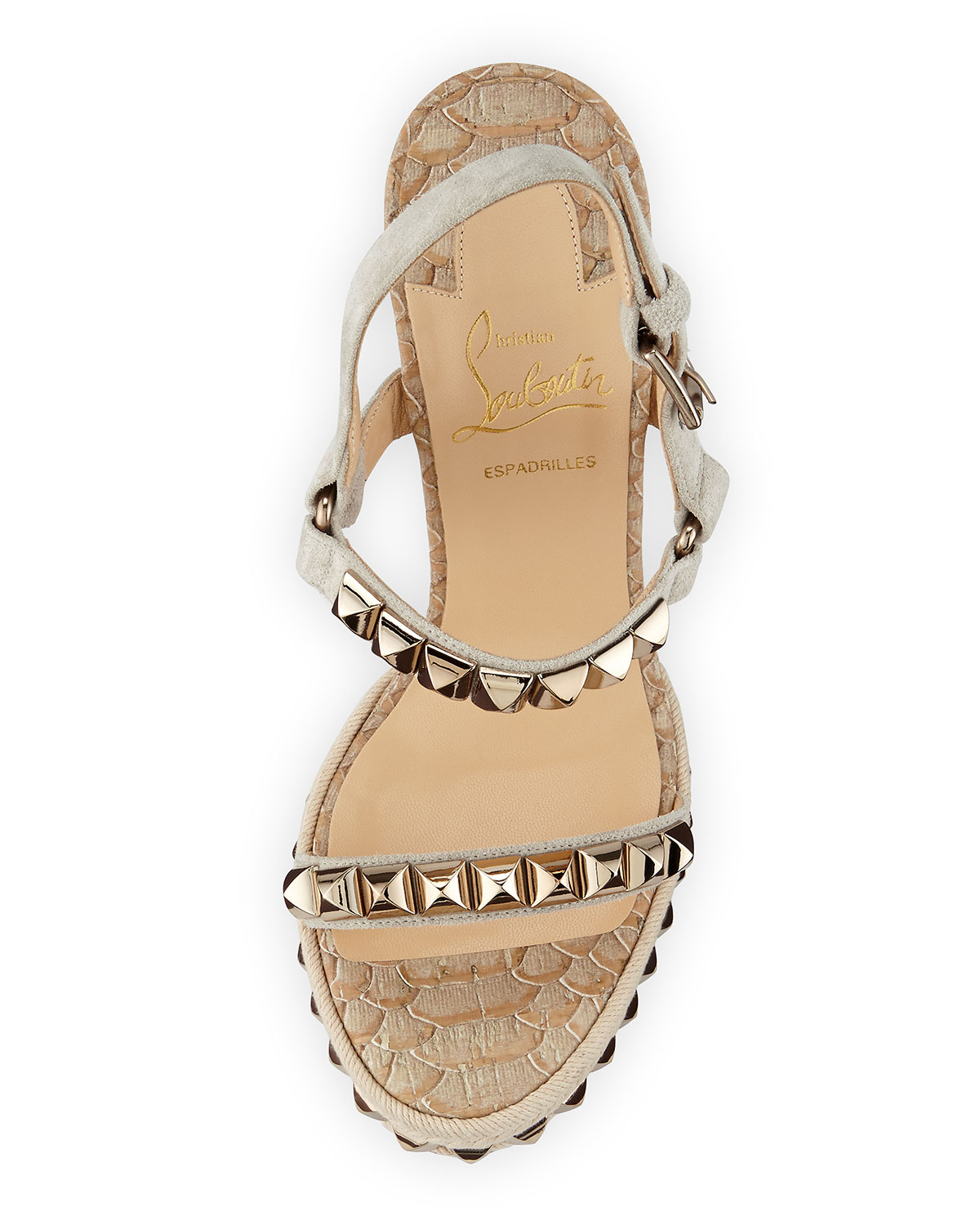 512adac8f2a2 ... best price lyst christian louboutin cataclou python embossed cork wedge  in brown f1ab2 2cb5e