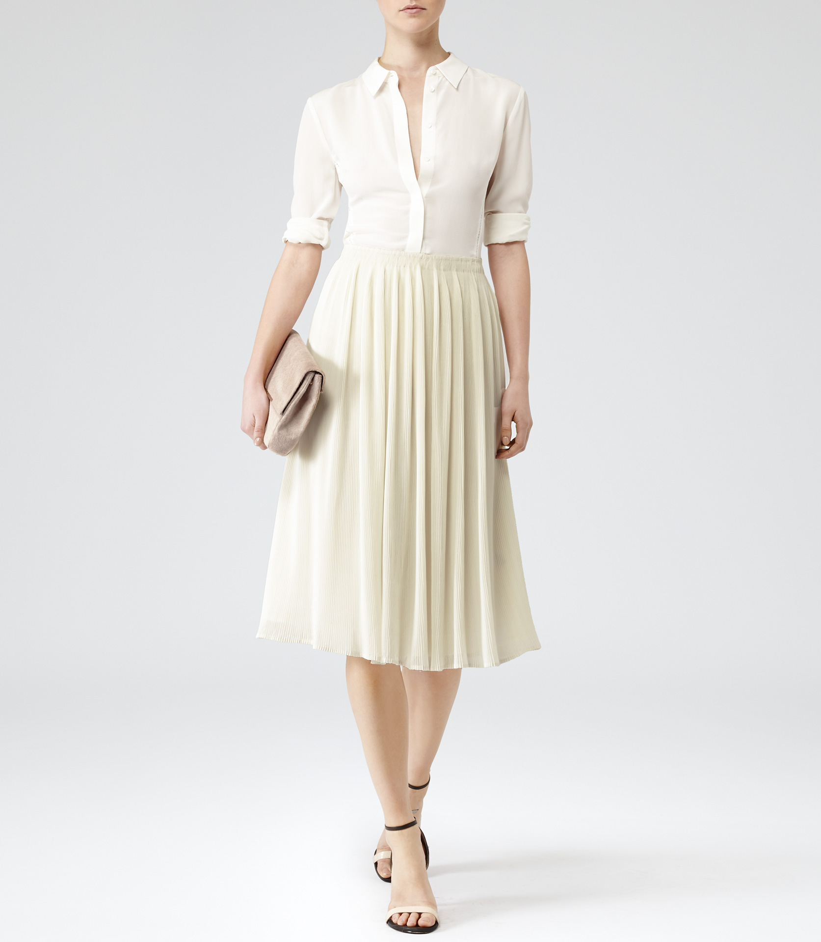 Reiss Helena Micro Pleat Midi Skirt in White | Lyst