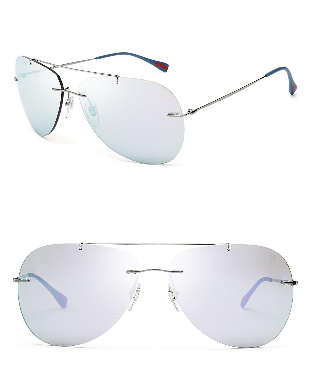 Prada Mirrored Aviator Sunglasses In Gray For Men Lyst