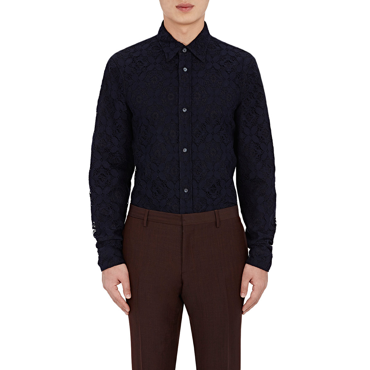 Barneys new york men 39 s lace shirt in blue for men lyst for New york and company dress shirts