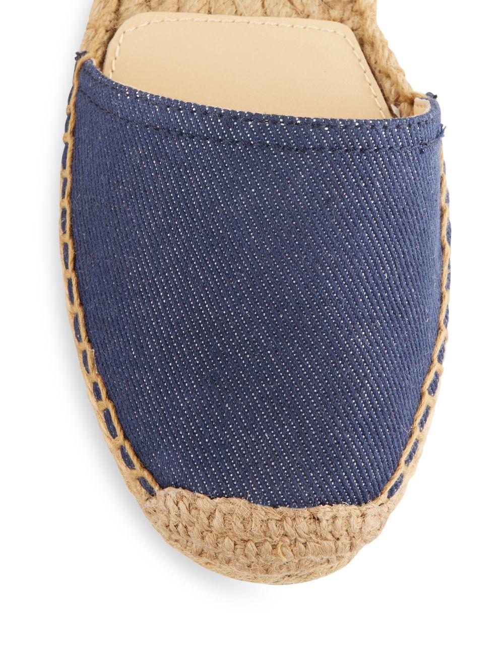 Vince Camuto Cable Denim Leather Ankle Strap Espadrilles