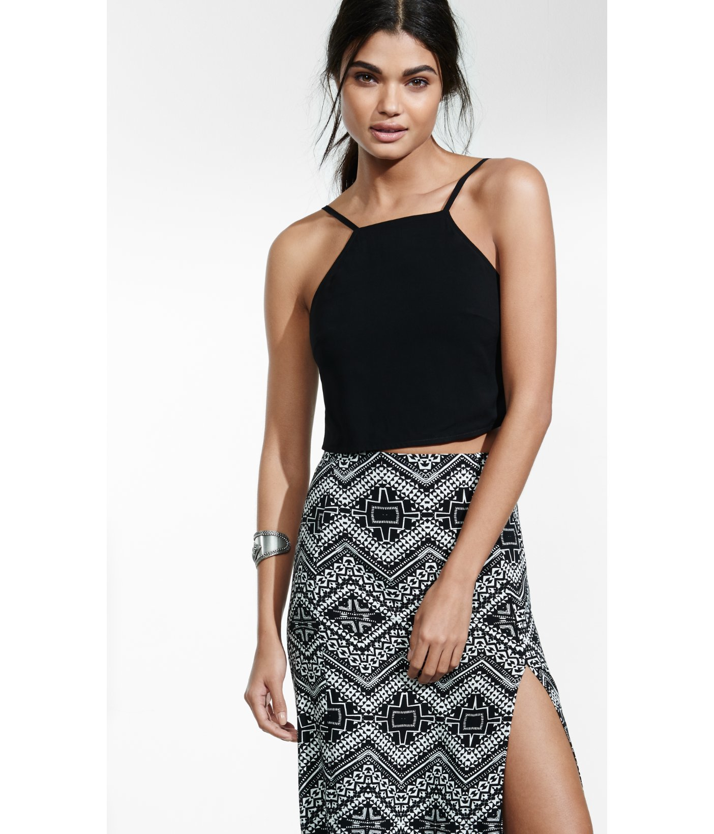Lyst Express Black Tie Back Cropped Halter Top In Gray