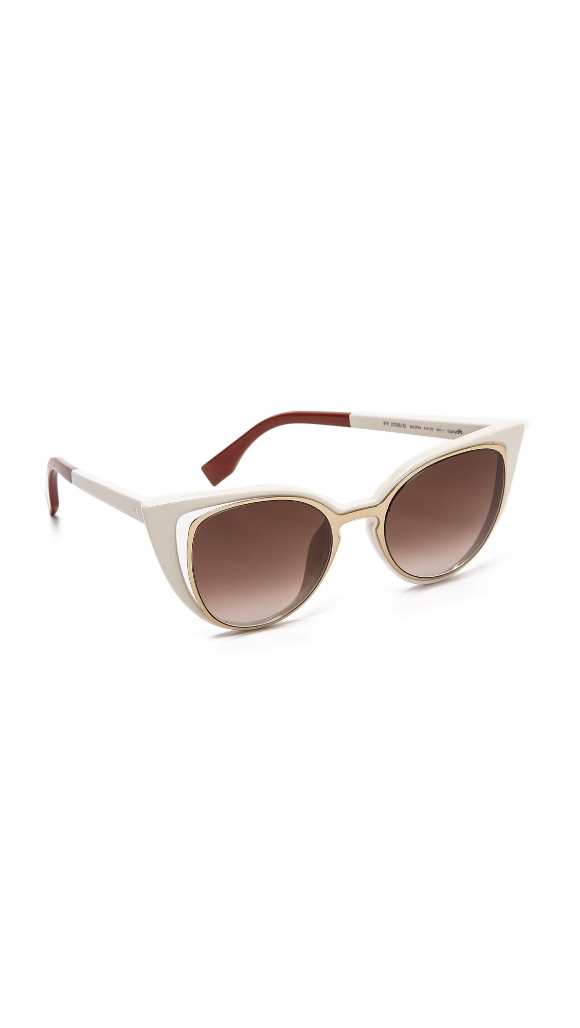 42d8d6da3e2bc Fendi Cutout Cat Eye Sunglasses - Gold White brown Shade in Metallic ...