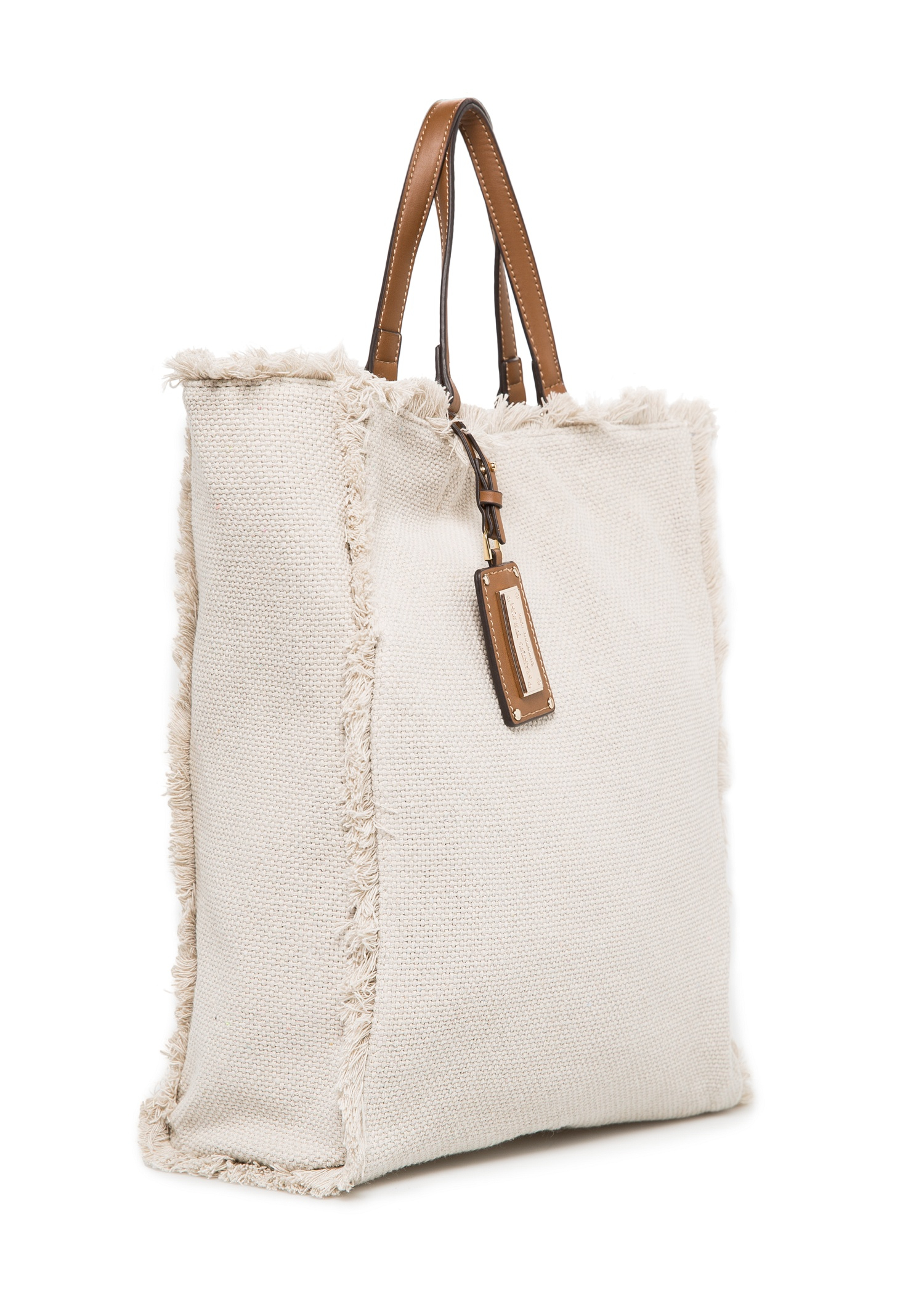 Mango Canvas Shopper Bag in Natural | Lyst