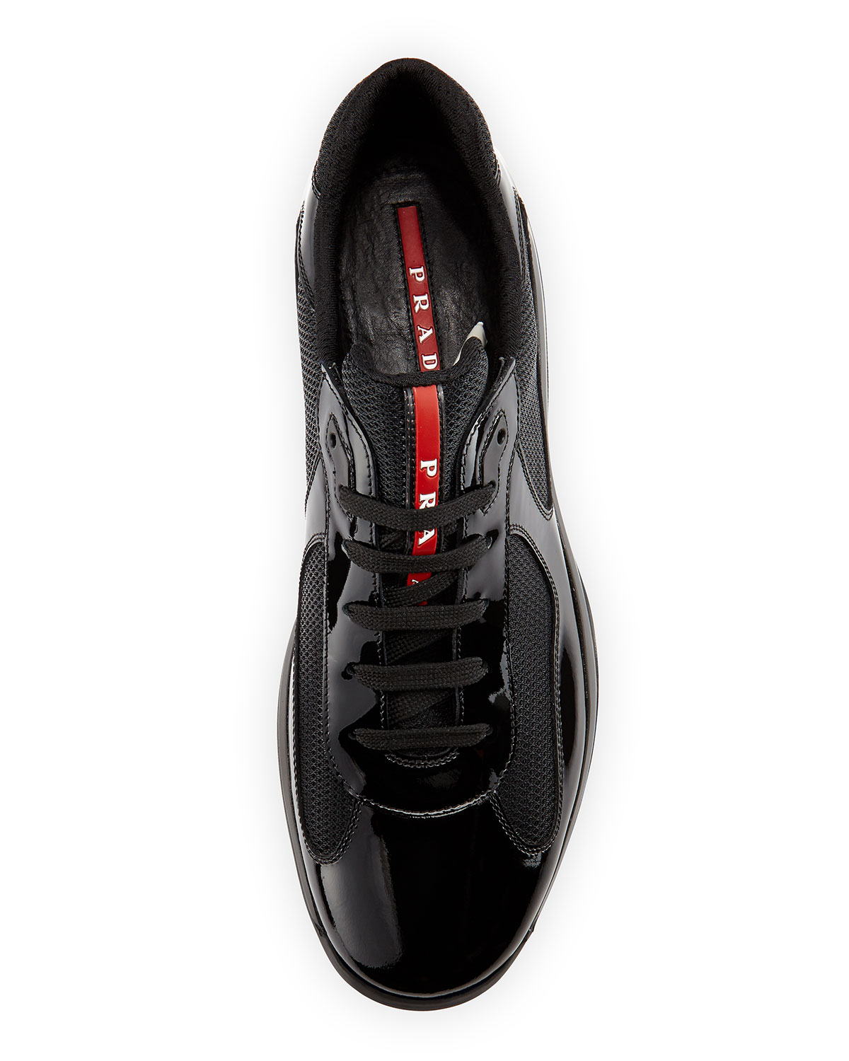 a4b2fe02780 Prada Linea Rossa Americas Cup Patent Leather Sneaker in Black for ...