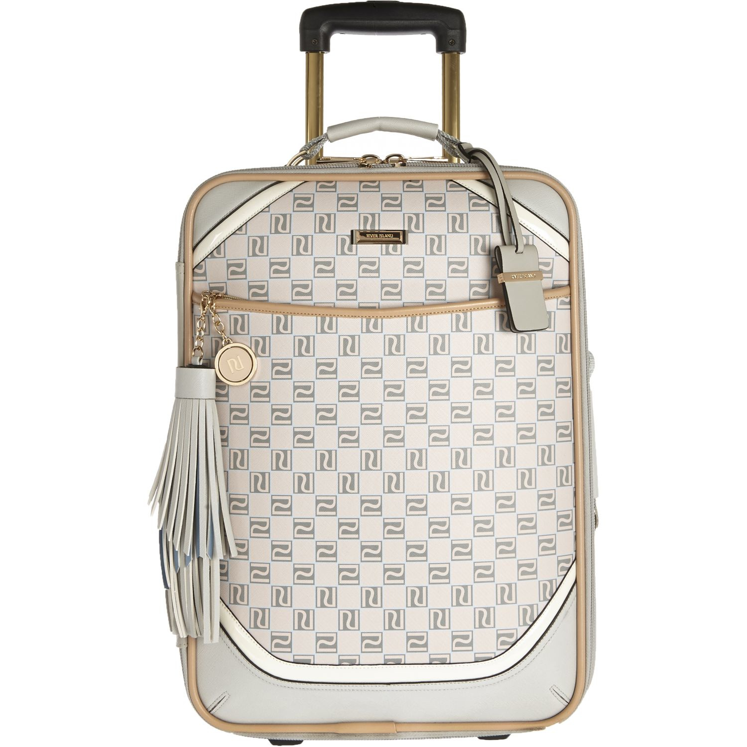 River island Beige Monogram Wheelie Suitcase in Natural | Lyst