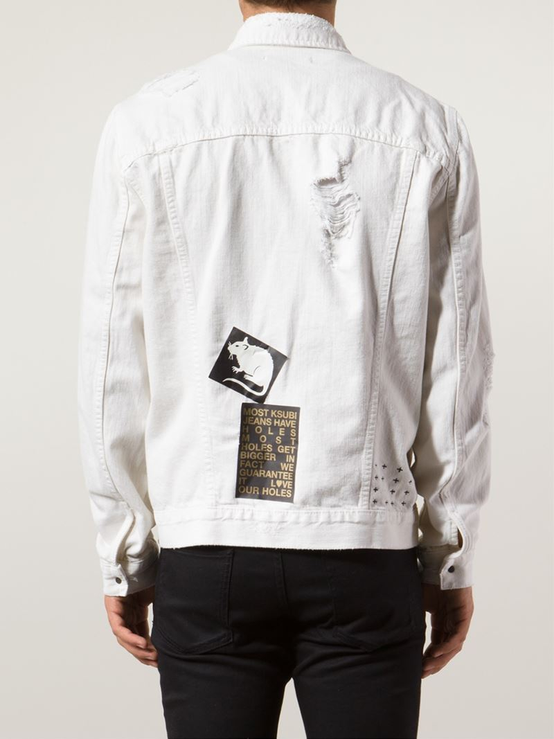 Ksubi Distressed Denim Jacket In White For Men Lyst