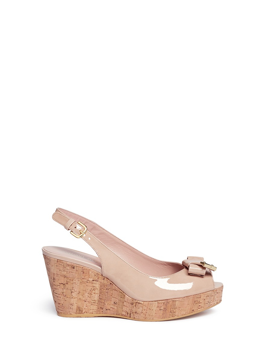 clearance view outlet Manchester Stuart Weitzman Bow Slingback Wedges w/ Tags real for sale free shipping cheap online QaHM56szI4