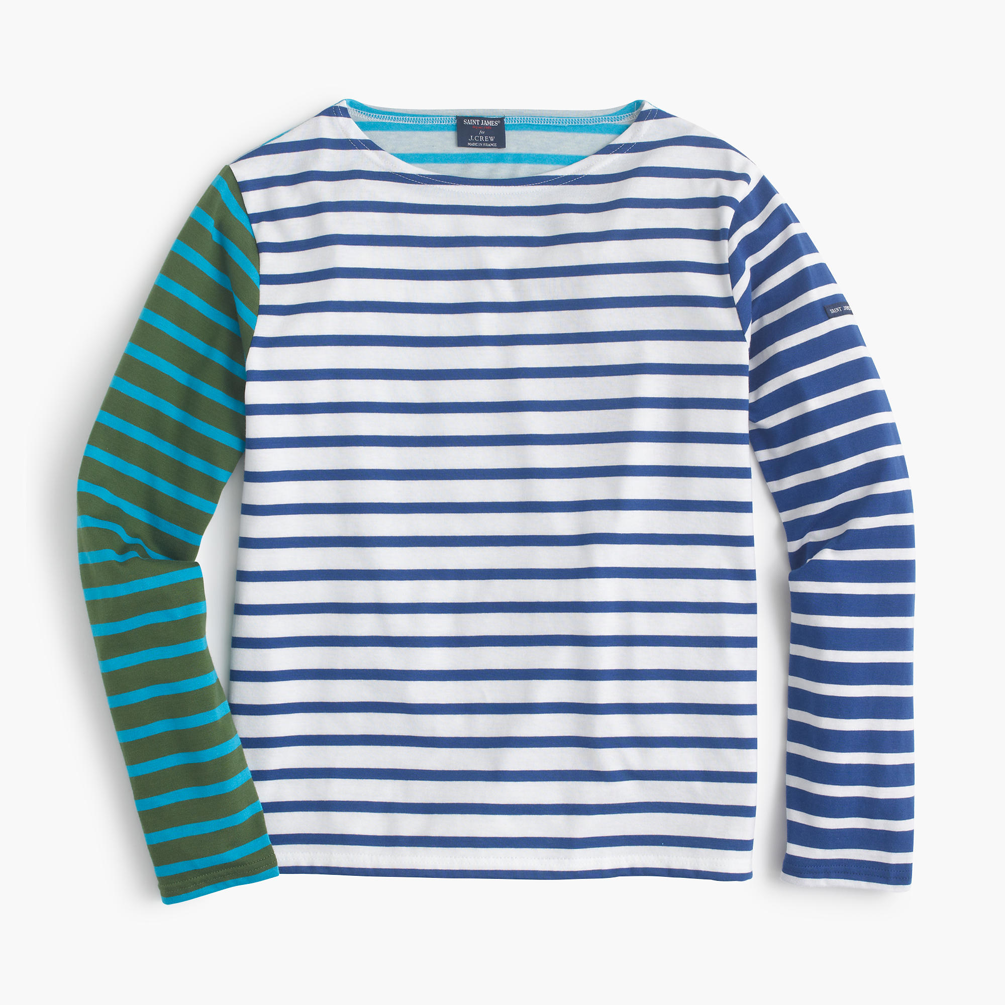 Saint james colorblock stripe t shirt in blue lyst for St james striped shirt