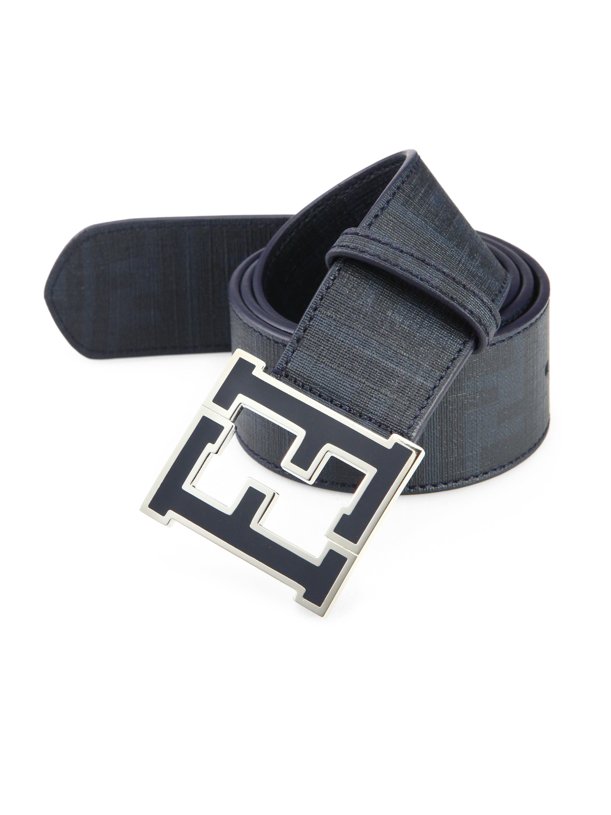 Fendi Zucca Logo Leather Belt in Blue for Men (NAVY) | Lyst