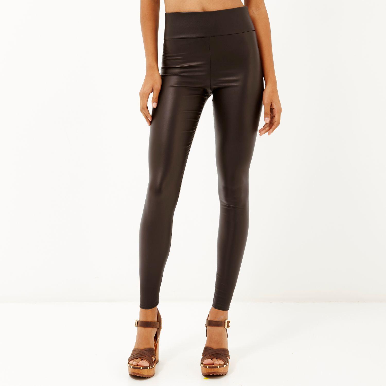 Womens Black high waisted coated leggings River Island TmE1iK8