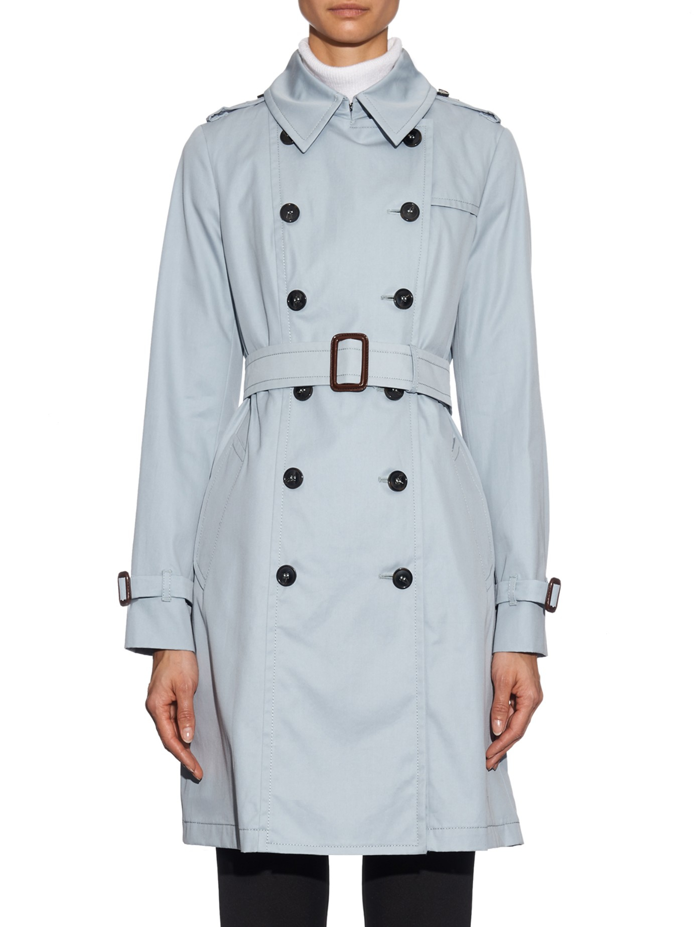 Stay prepped for showers and blustery days with this timeless Laundry by Shelli Segal trench coat. Decorated with a darling belt and flared back, this elegant light blue coat will help you make the most of storms no matter the season.