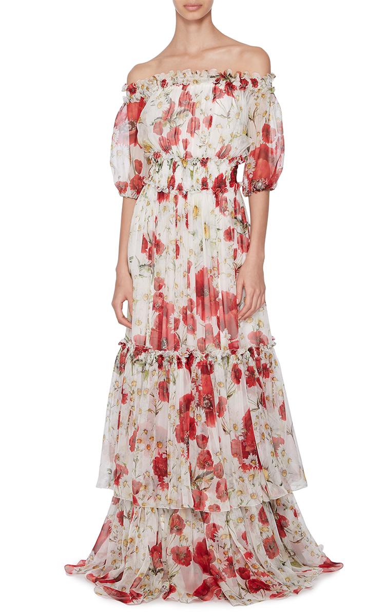 fd2592f7 Dolce & Gabbana Silk Off The Shoulder Floral Dress - Lyst