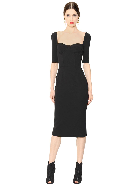 Dolce &amp- gabbana Stretch Wool Crepe Bustier Dress in Black - Lyst