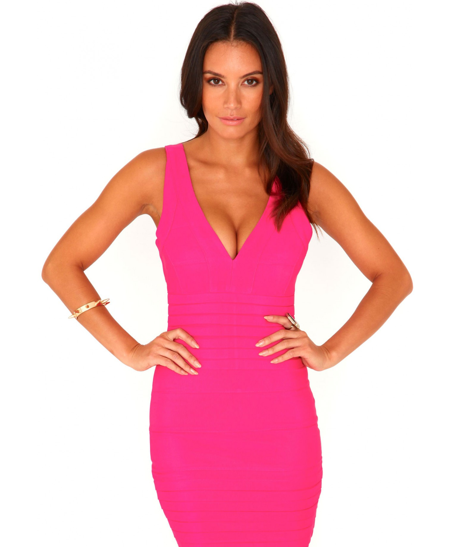 Missguided Leena Bandage Bodycon Dress In Neon Pink in Pink | Lyst