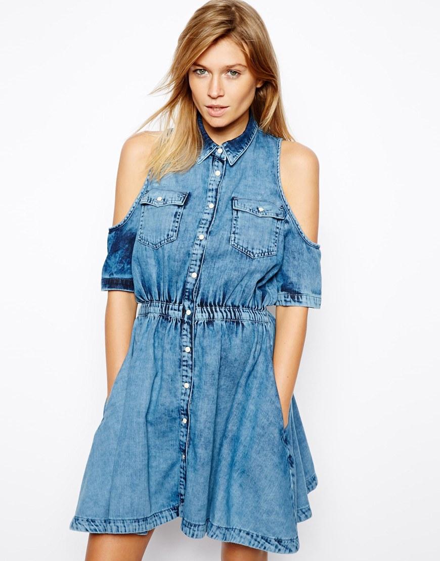 lyst asos denim shirt dress with cold shoulder in blue. Black Bedroom Furniture Sets. Home Design Ideas