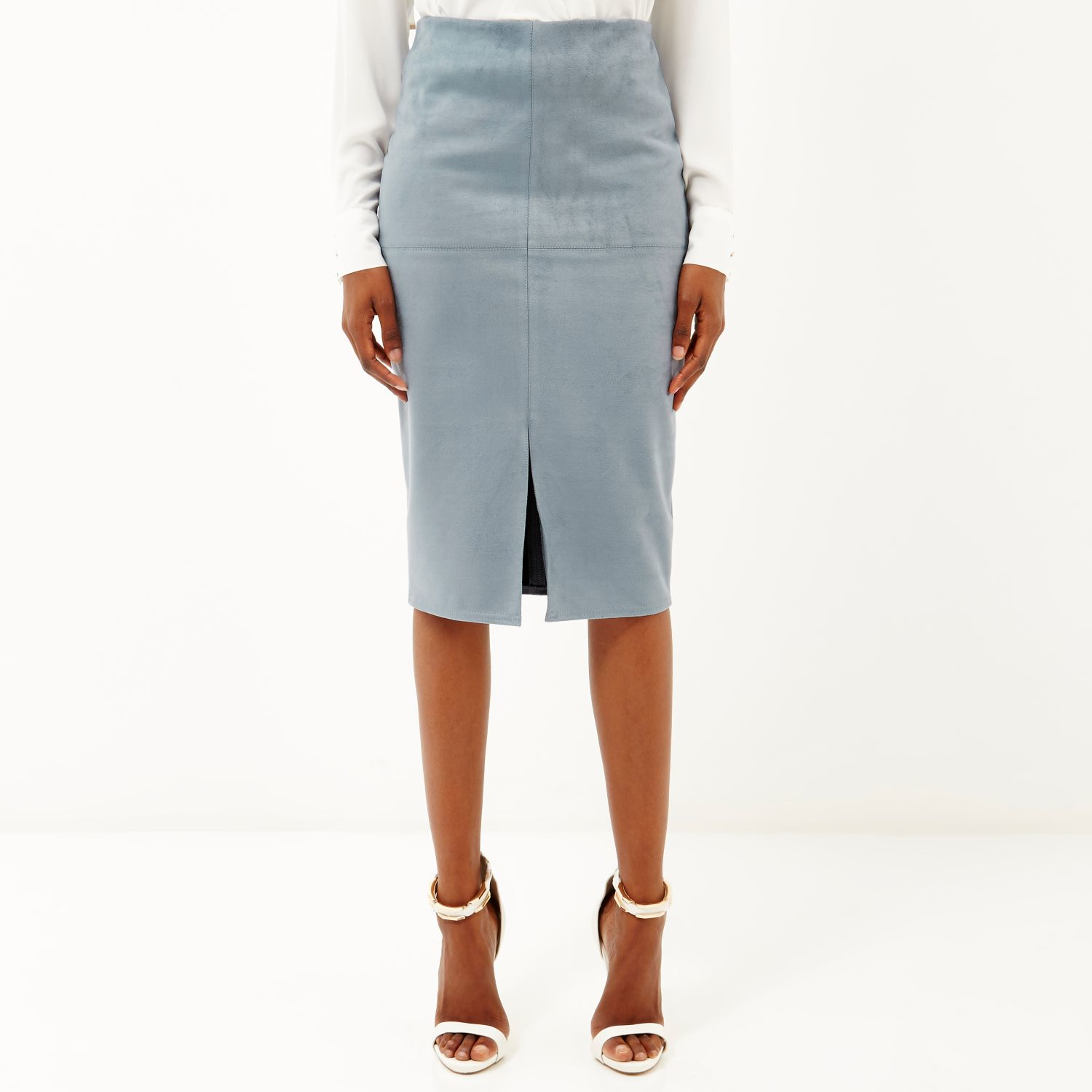 a0d4b6bc99 River Island Blue Faux-suede Split Front Pencil Skirt in Blue - Lyst
