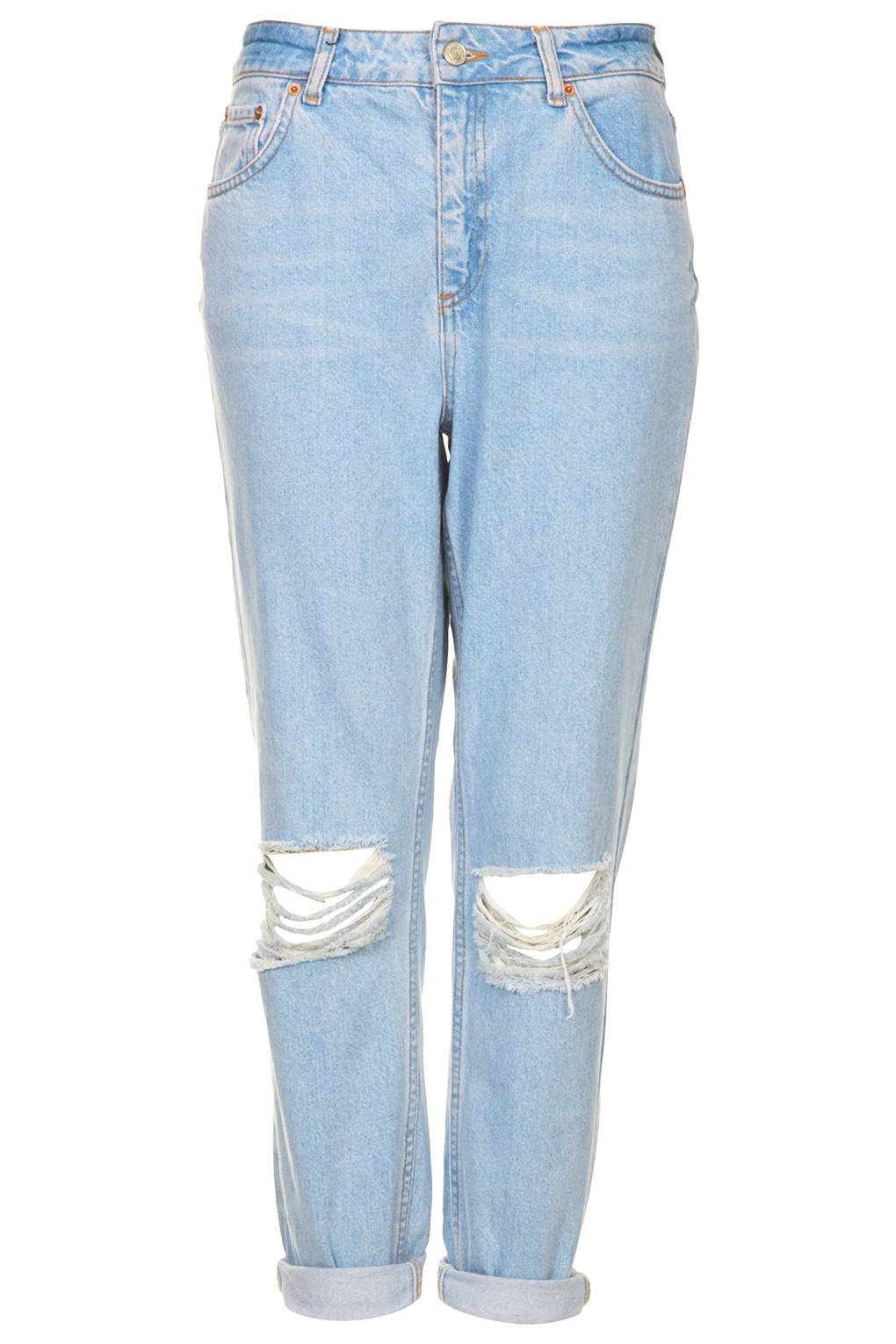 Lyst Topshop Moto Blue Ripped Mom Jeans In Blue