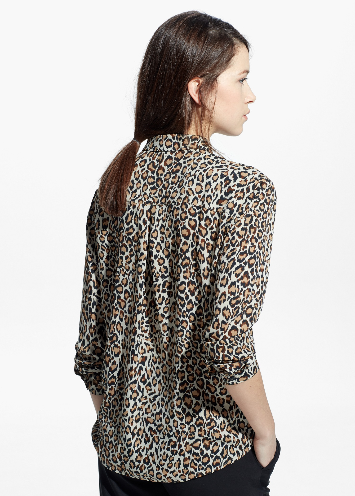 1cf62b42510380 Lyst - Mango Leopard Print Shirt in Gray