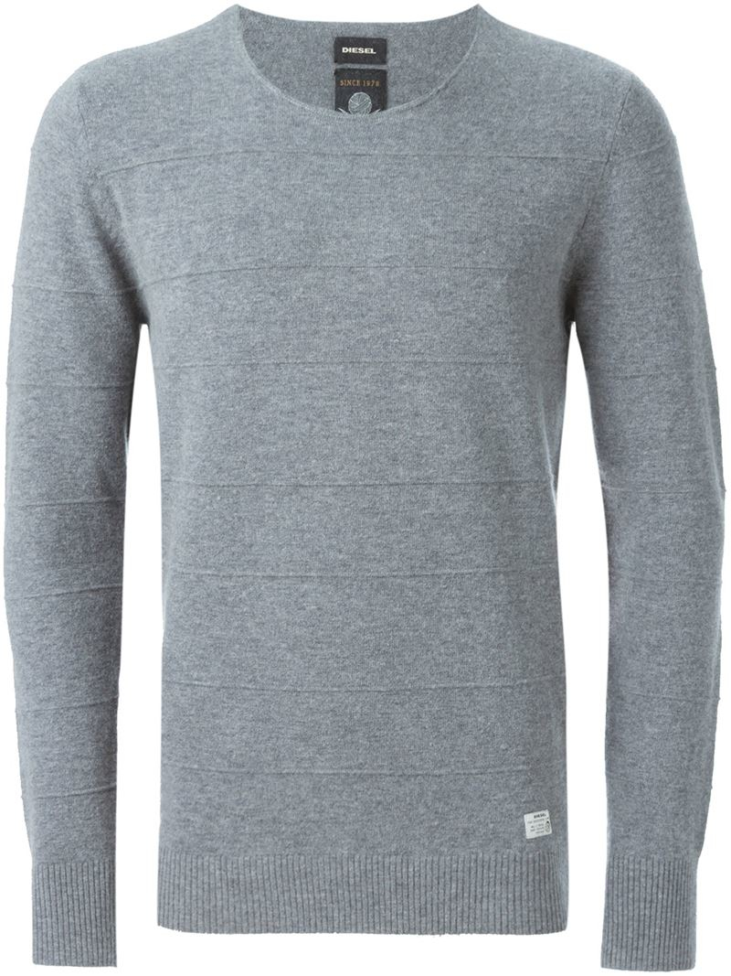 Diesel Horizontal Ribbed Sweater in Gray for Men | Lyst
