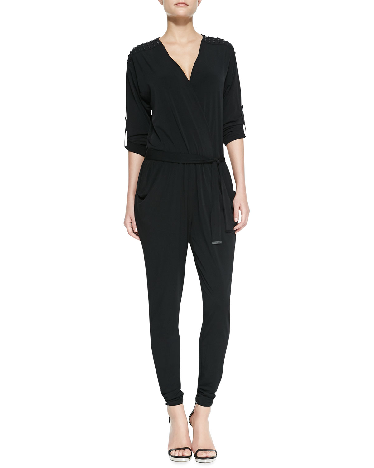 michael michael kors tiewaist studded jersey jumpsuit in black lyst. Black Bedroom Furniture Sets. Home Design Ideas