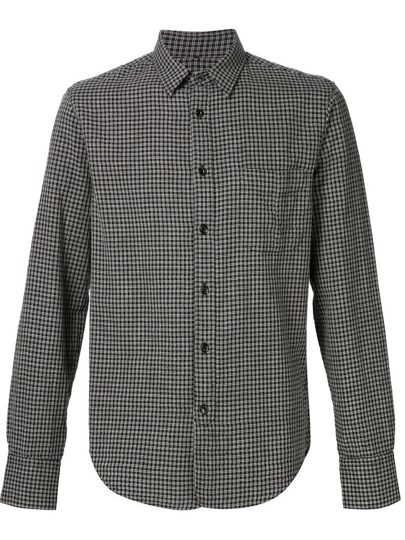 Rag bone 39 3 4 plackett 39 shirt in black for men lyst for Rag and bone mens shirts sale