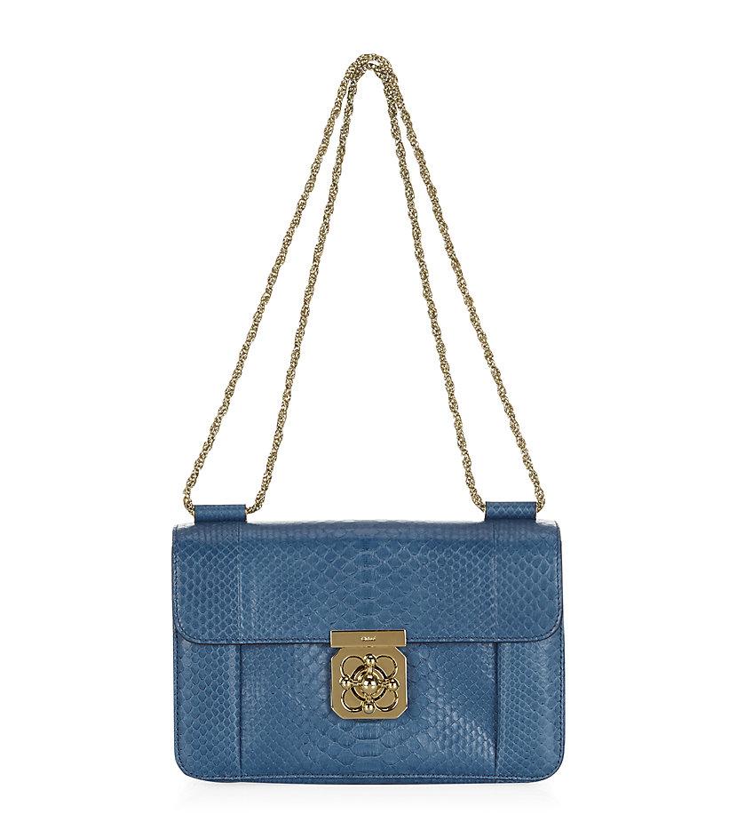 7c53f65d7c05 Chloé Medium Elsie Python Shoulder Bag in Blue - Lyst