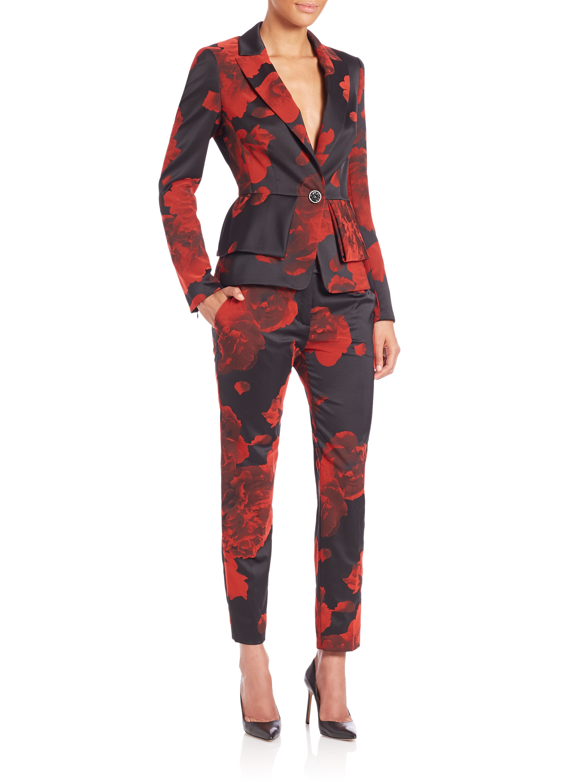 Escada Rose-print Peplum Blazer in Red | Lyst