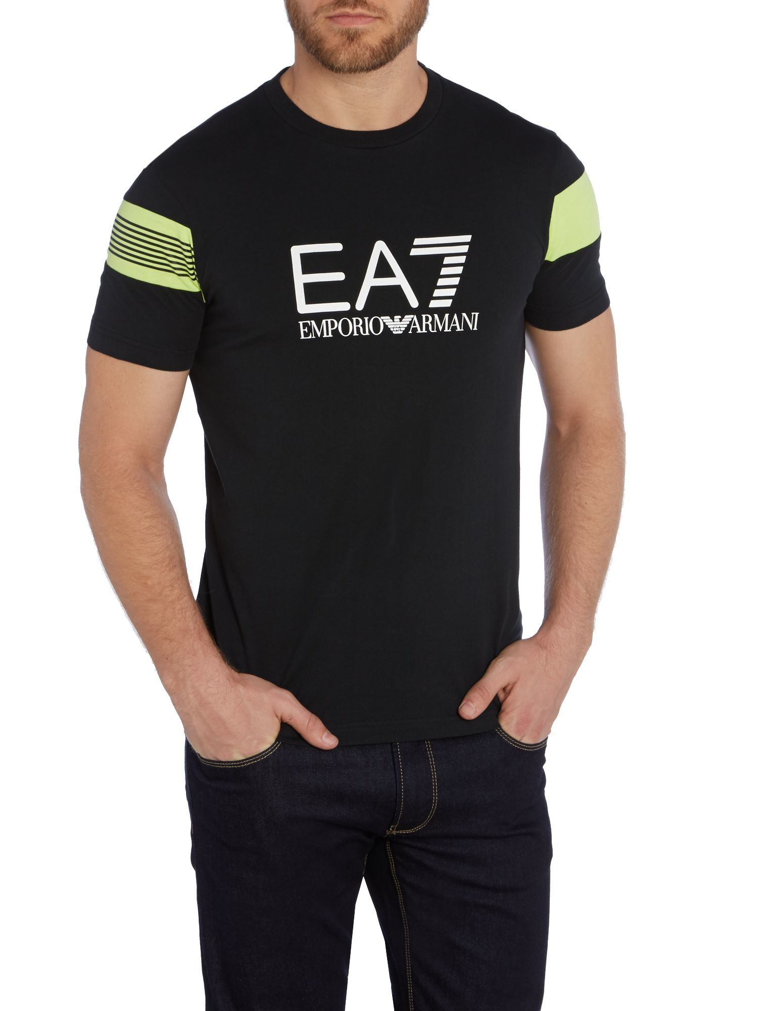 Ea7 print crew neck regular fit t shirt in black for men for Men s regular fit shirts