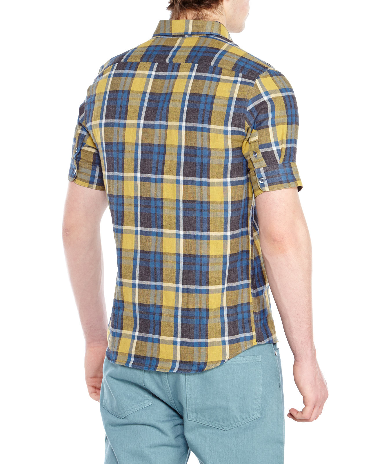Ami Blue Yellow Plaid Short Sleeve Shirt In Blue For Men