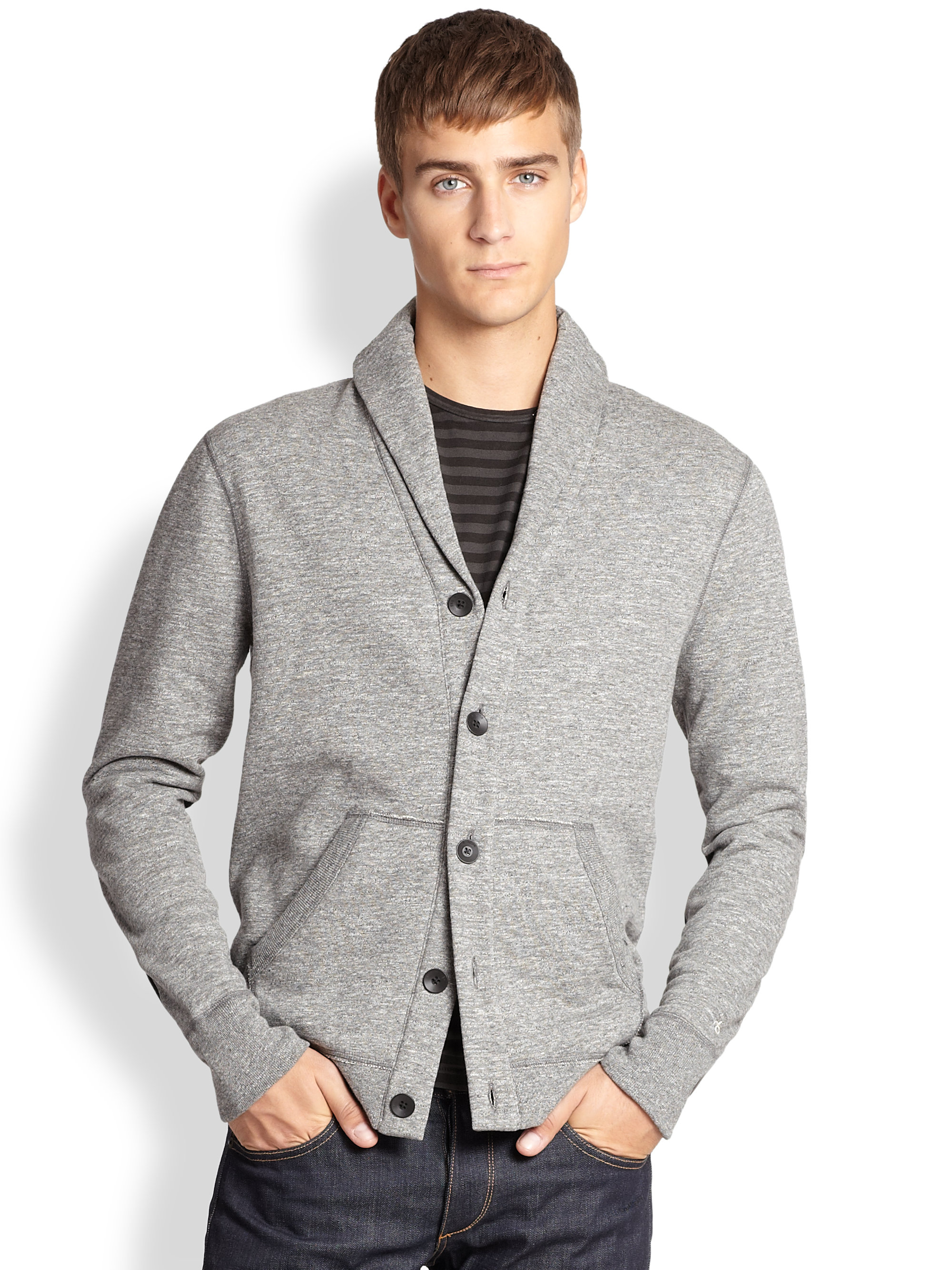 Rag & bone Shawl-Collar Sweatshirt Cardigan in Gray for Men | Lyst