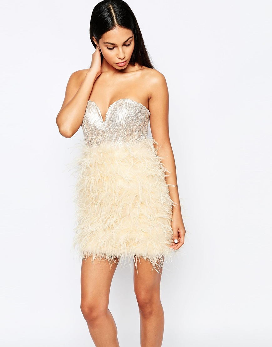 Rare Opulence Sequin Bust Dress With Feather Skirt In