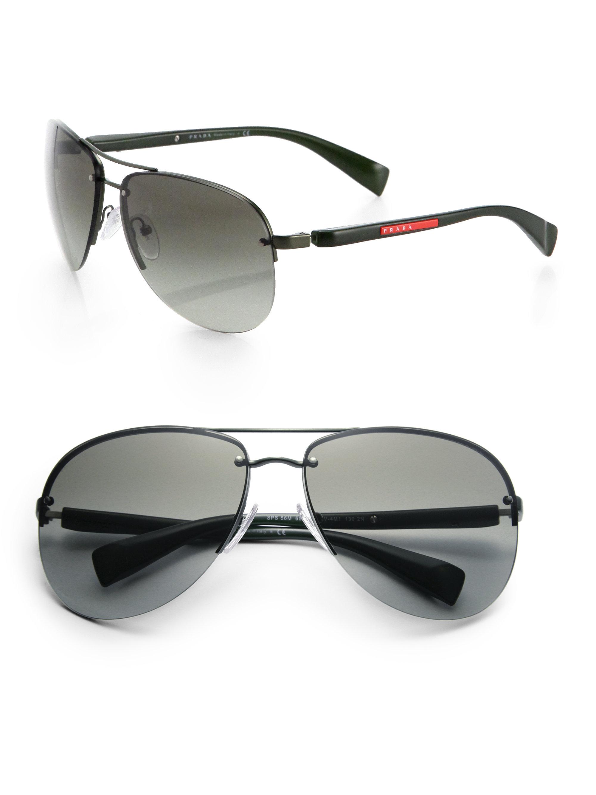 Prada 65mm Oversized Aviator Sunglasses In Green For Men