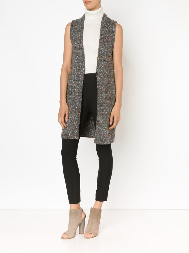 Theory Long Sleeveless Cardigan in Gray | Lyst