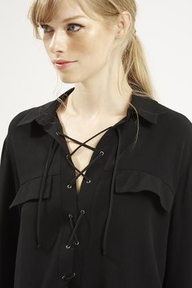Topshop Tie-up Pocket Shirt in Black | Lyst