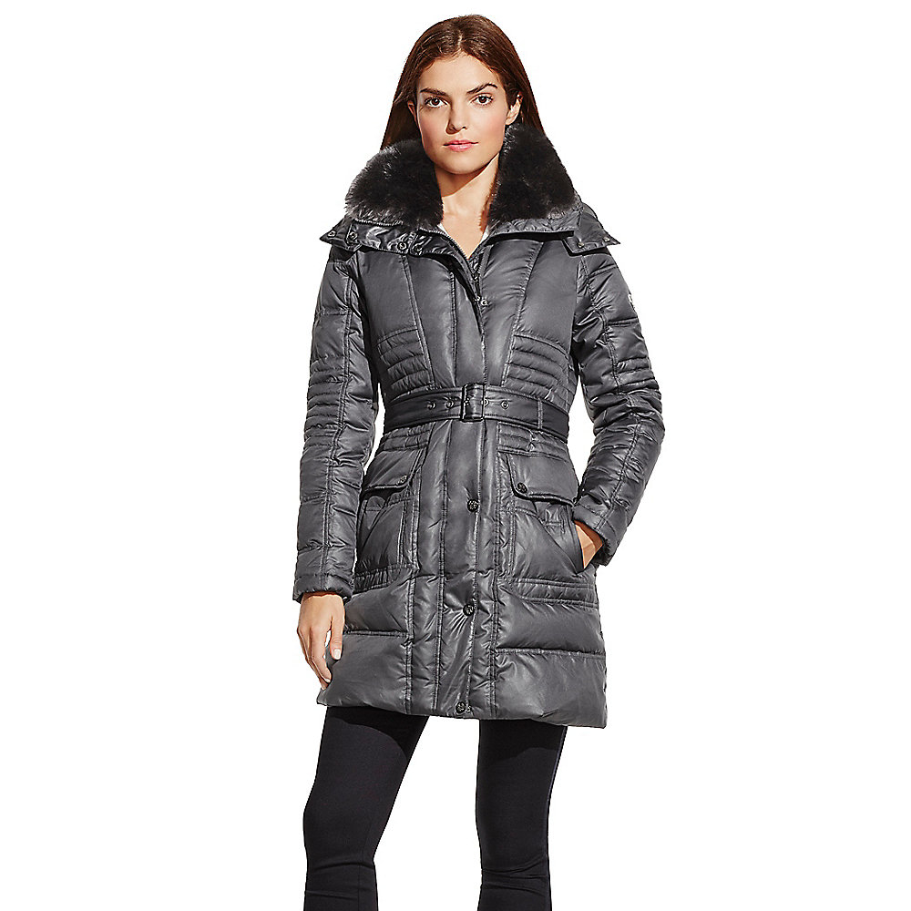 Vince Camuto Faux Fur Collar Hooded Belted Down Puffer
