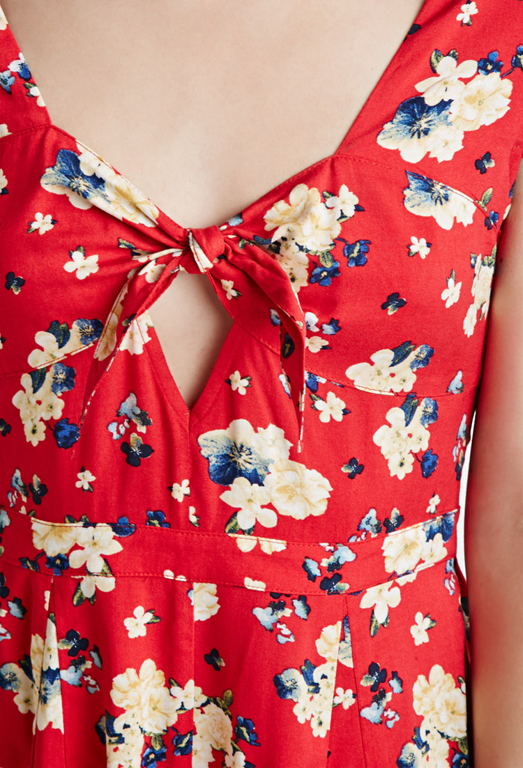 2194b801a2a0 Lyst - Forever 21 Self-tie Floral Romper in Red