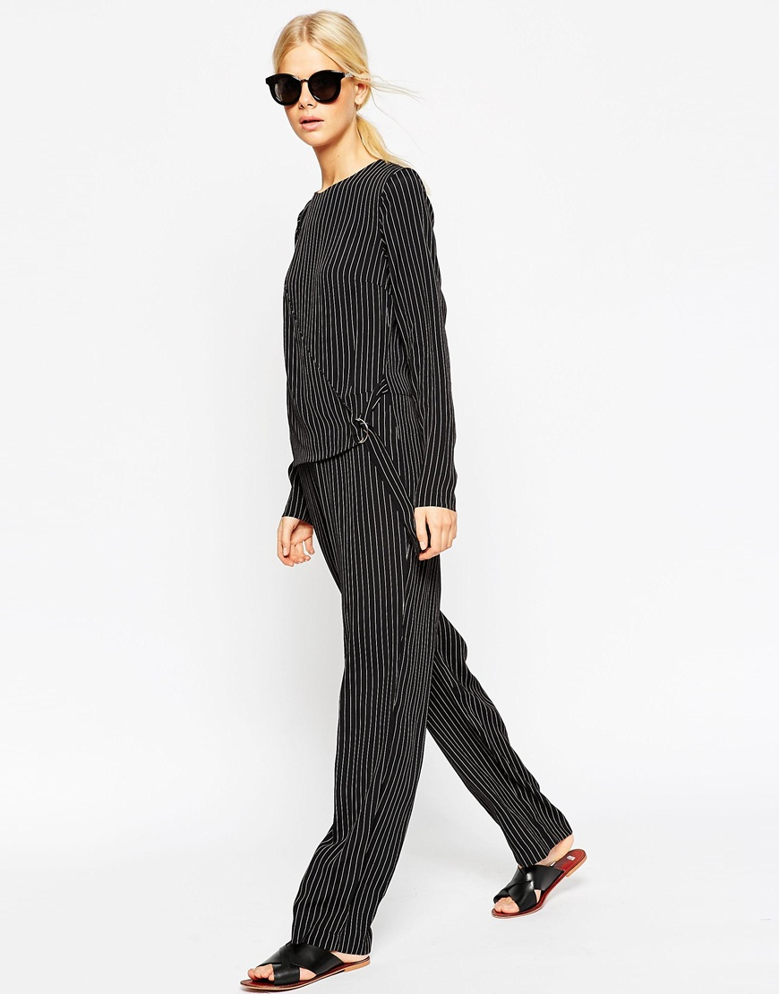 1042bbf6a2e Lyst - ASOS Stripe Jumpsuit With D-ring Wrap Over Layer in Black