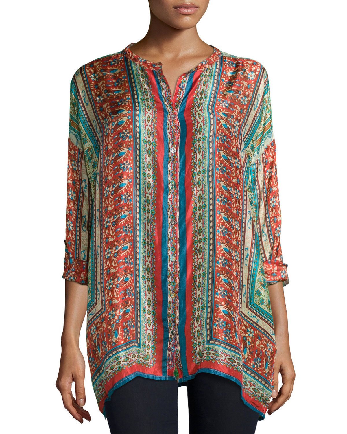 Johnny Was Sari Button Front Printed Silk Tunic In Blue Lyst