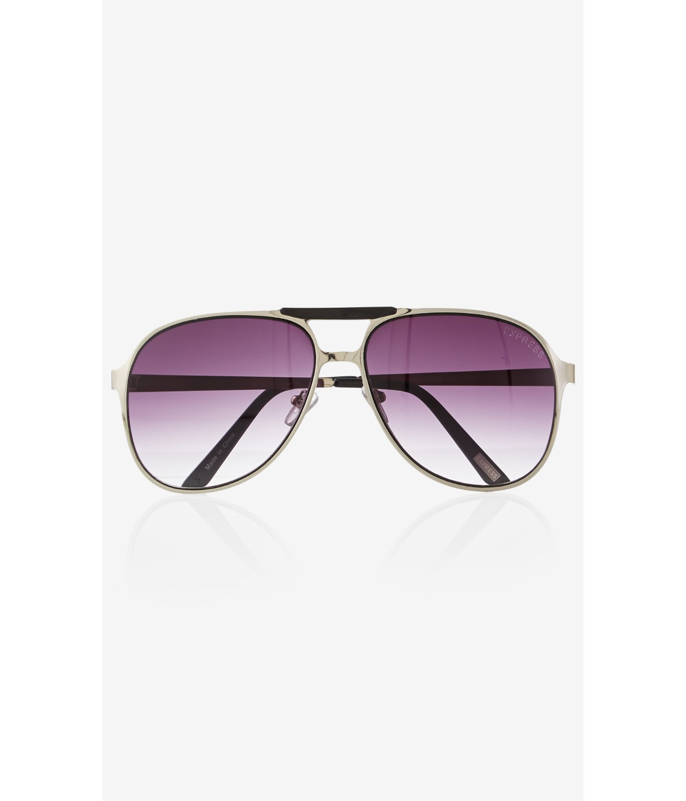 Express Sunglasses  express capped bridge aviator sunglasses in metallic for men lyst