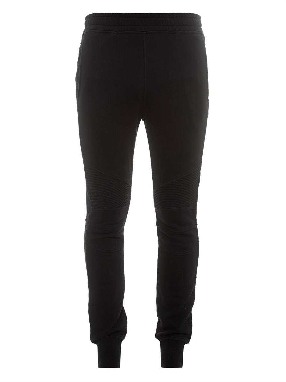 Balmain Biker Cotton Track Pants in Black for Men
