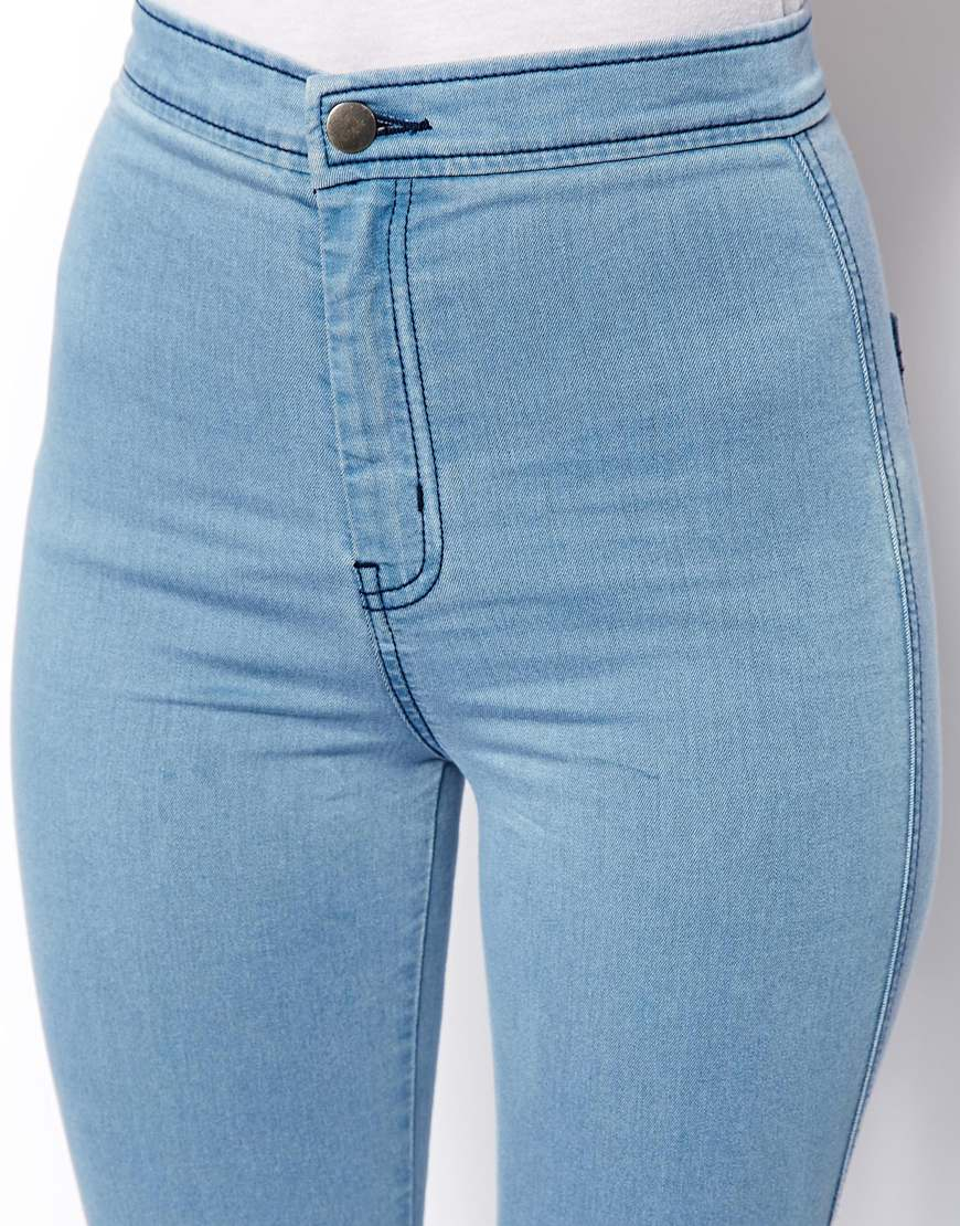 35458418 ASOS Rivington High Waist Denim Jeggings in Light Wash in Blue - Lyst