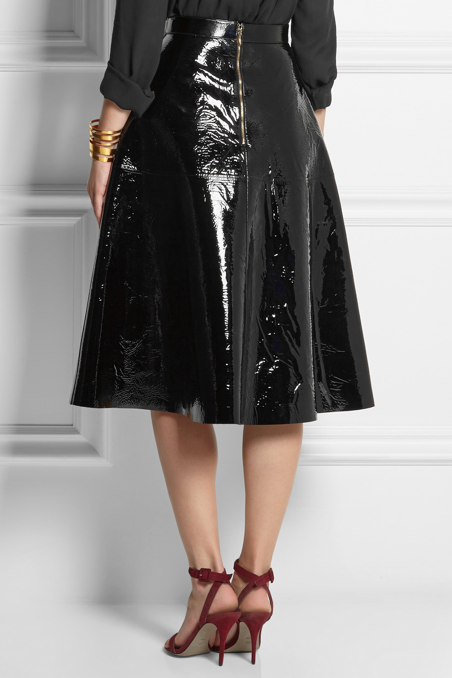 Rochas Patent-leather Skirt in Black | Lyst