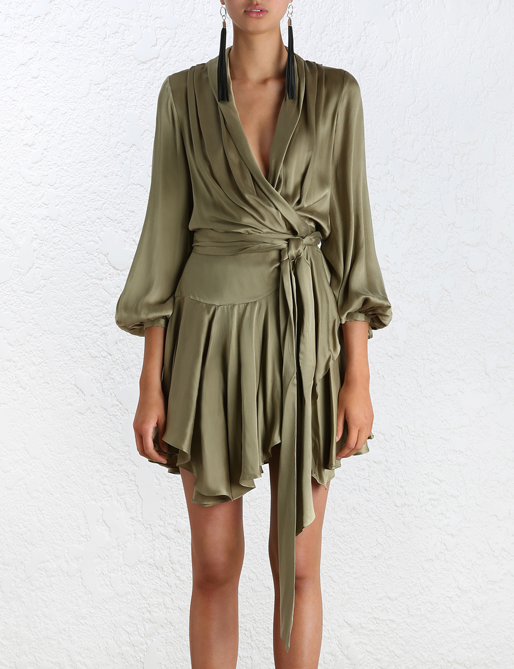 Zimmermann Empire Sueded Robe Dress In Green Lyst