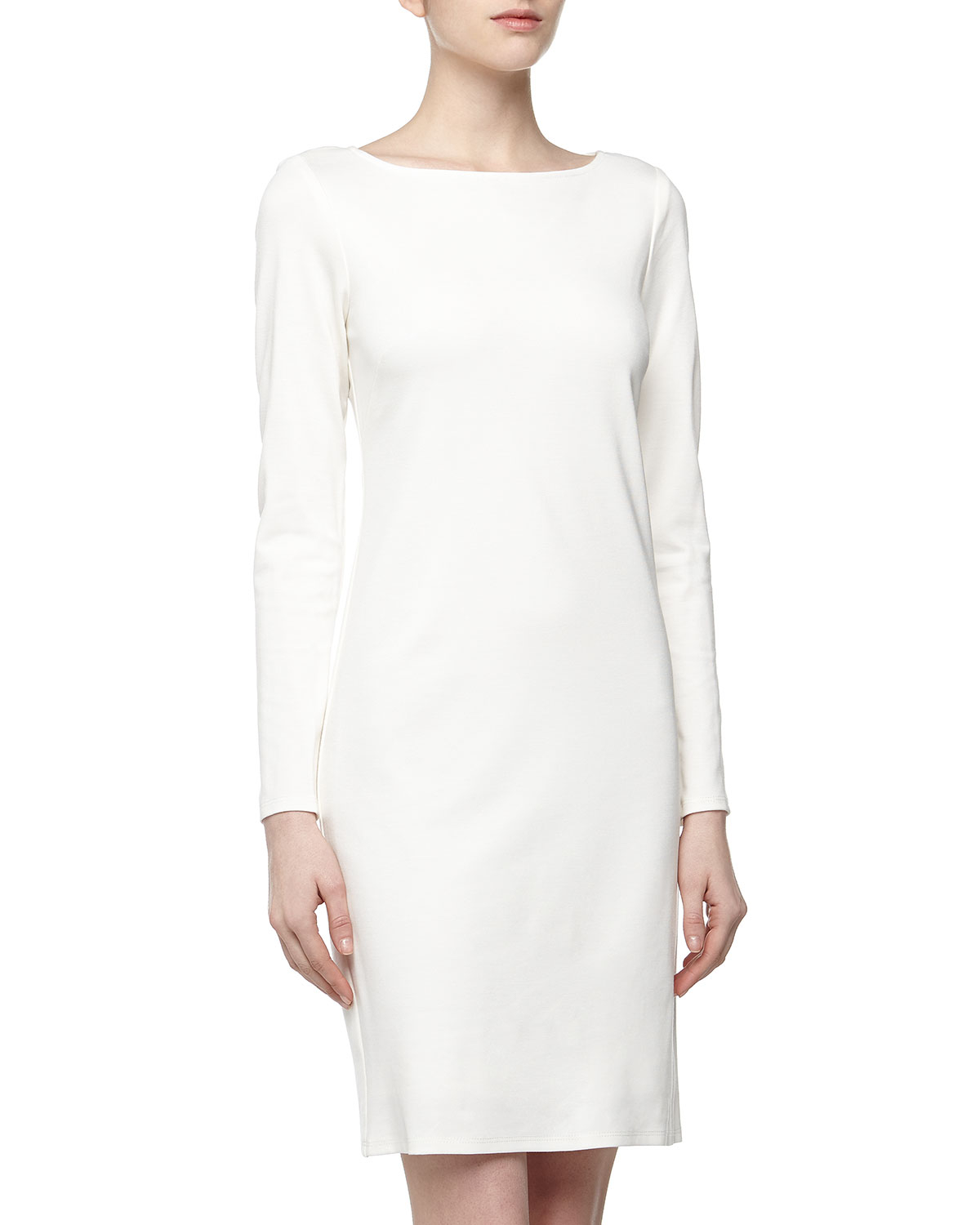 isaac mizrahi longsleeve ponte sheath dress winter white
