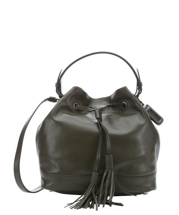 replica prada cosmetic bags - Prada Military Green Calfskin Fringe Drawstring Bucket Bag in ...
